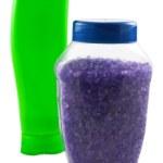 Plastic green bottle and bath salt — Stock Photo #2821143