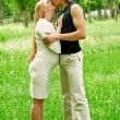 Beautiful pregnant woman with her husband — Foto Stock