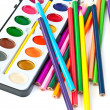 Paintbox with pencils - Stock Photo