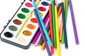 Paintbox with pencils — Stock Photo