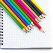 Foto de Stock  : Note book and pencils