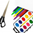 Paintbox and scissors — Stock Photo