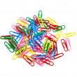 Colored paper clips - Stock Photo
