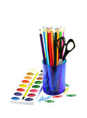 Paintbox and colored pencils — Stock Photo