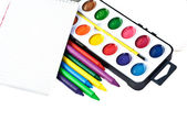 Paintbox with water colors — Stock Photo