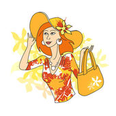 Girl with bag — Vector de stock