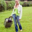 Stock Photo: Girl with valise.Journey and rest