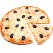Pizza  with the cut off slice .Isolated - Stock Photo
