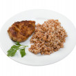 Chops with buckwheat on plate — Stock Photo