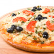 Pizza with tomato and eggplant — Stock Photo