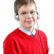 Portrait  smiling boy with headset — Stock Photo