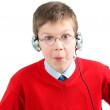 Portrait shocked child with headset — Stock Photo