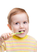 Child with dental toothbrush — Stock Photo