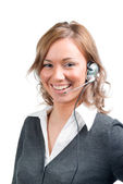 Business woman with head set — Stock Photo