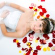 Stock Photo: Beautiful sexy bride on floor a