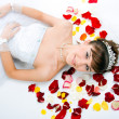 Beautiful sexy bride on floor a — Stock Photo