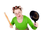 Angry crazy housewife — Stock Photo