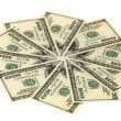 Ten denominations on hundred dollars — Stock Photo