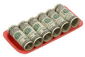 US dollars in the plastic container — Stock Photo