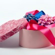 Gift box in the form of heart with bows. — Stock Photo #2822776