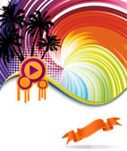 Colorful rainbow discotheque banner — Stock Vector