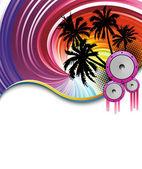 Rainbow beach party poster — Stock Vector