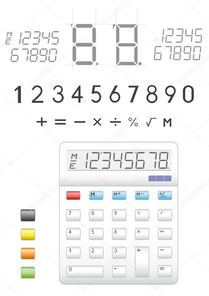 Electronic calculator, digits, buttons and symbols to it  Stock Vector #2807551