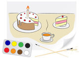 Drawing cake — Stock Vector
