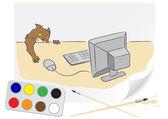 Zeichnung katze und computer — Stockvektor