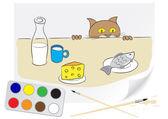 Aç kedi çizim — Stok Vektör