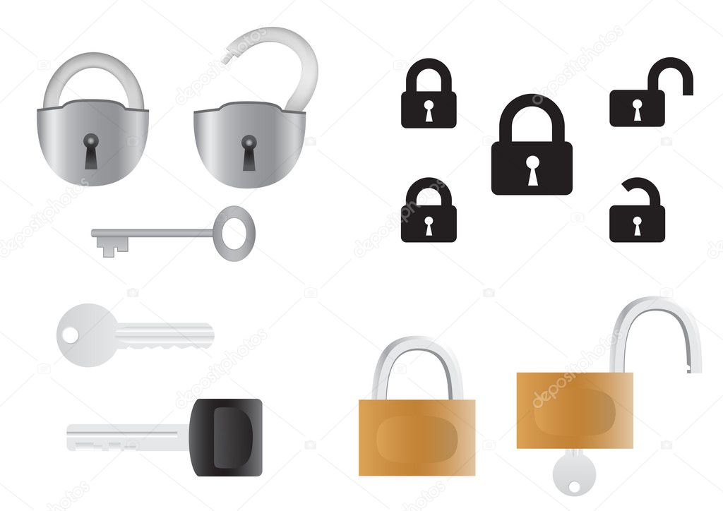 Locks and keys, opened and closed isolated on the white background   Stock Vector #3282843
