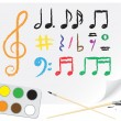 Stock Vector: Drawing music notes