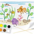 Drawing aquarium - Stock Vector