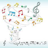 Music notes tornado — Stock Vector