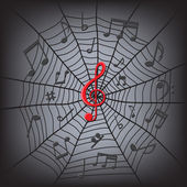 Music notes in the spider web — Stock Vector