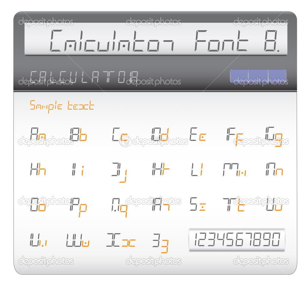 Modern font made of liquid crystal figures displayed on the calculator  Stock Vector #3712157