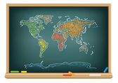 Drawing world map by a chalk — Stock Vector