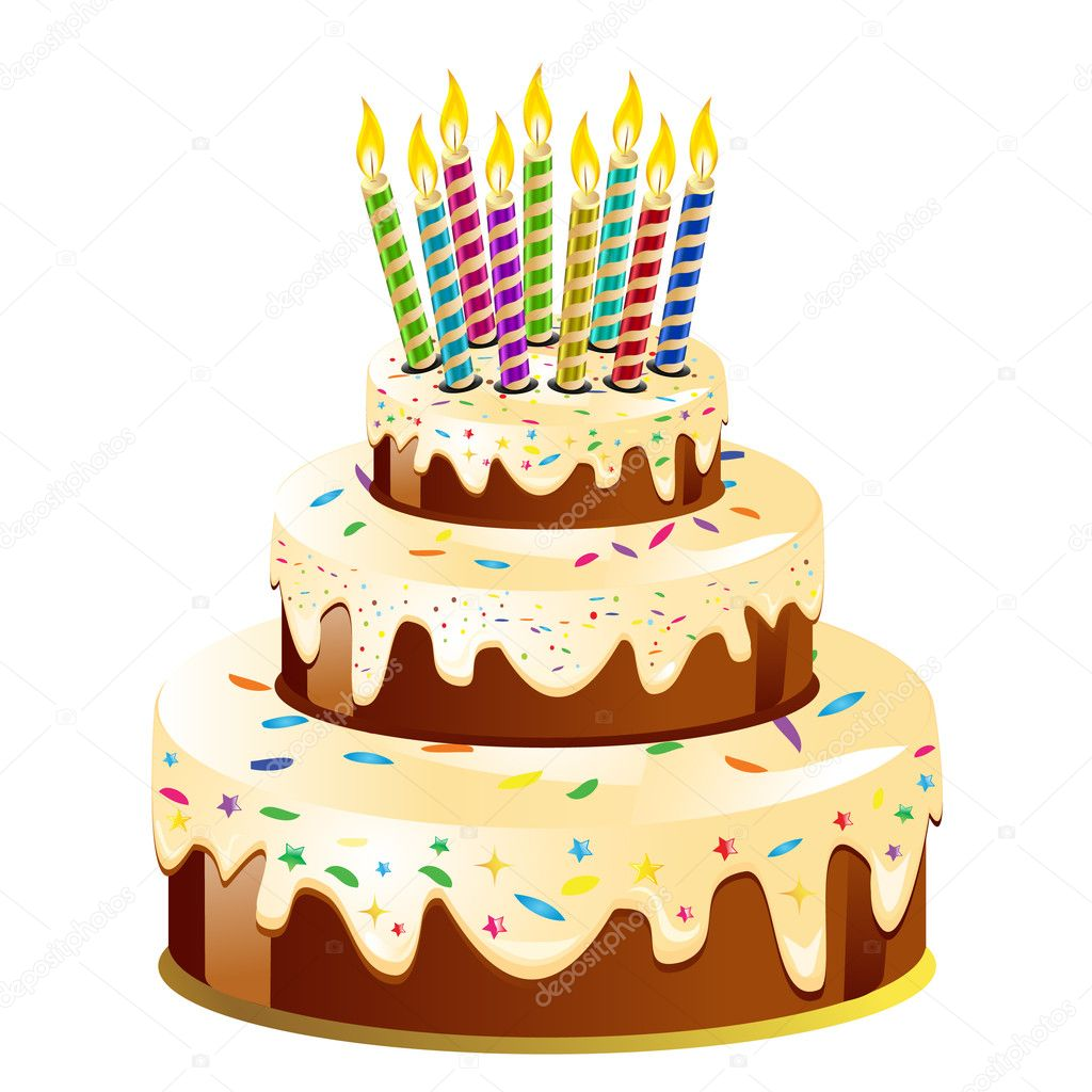 Birthday cake and candle.Vector Illustration  Stock Photo #2886772