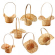 Wicker basket isolated on white - Stock Photo
