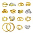 Collection of gold wedding rings - 图库照片