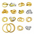 Collection of gold wedding rings - Stock Photo