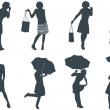 Women Silhouette Set — Stock Vector