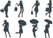 Women Silhouette Set — Stock Vector