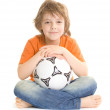 Cute boy with soccer ball — Stock Photo
