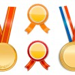 Gold medals and badges - Stock Vector