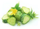 Cucumbers with flower — Stock Photo