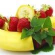 Banana with berries - Stock Photo
