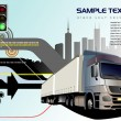 Abstract hi-tech background with truck - Stock Vector