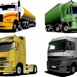 Four Vector illustration of trucks — Stock Vector