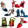 Five pairs of Fashion woman shoes. - Stock Vector